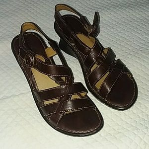 Born sling-back wedges in brown leather